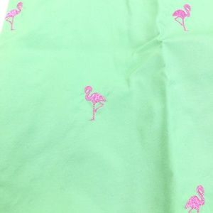 Brooks Brothers Green Pink Embroidered Flamingos